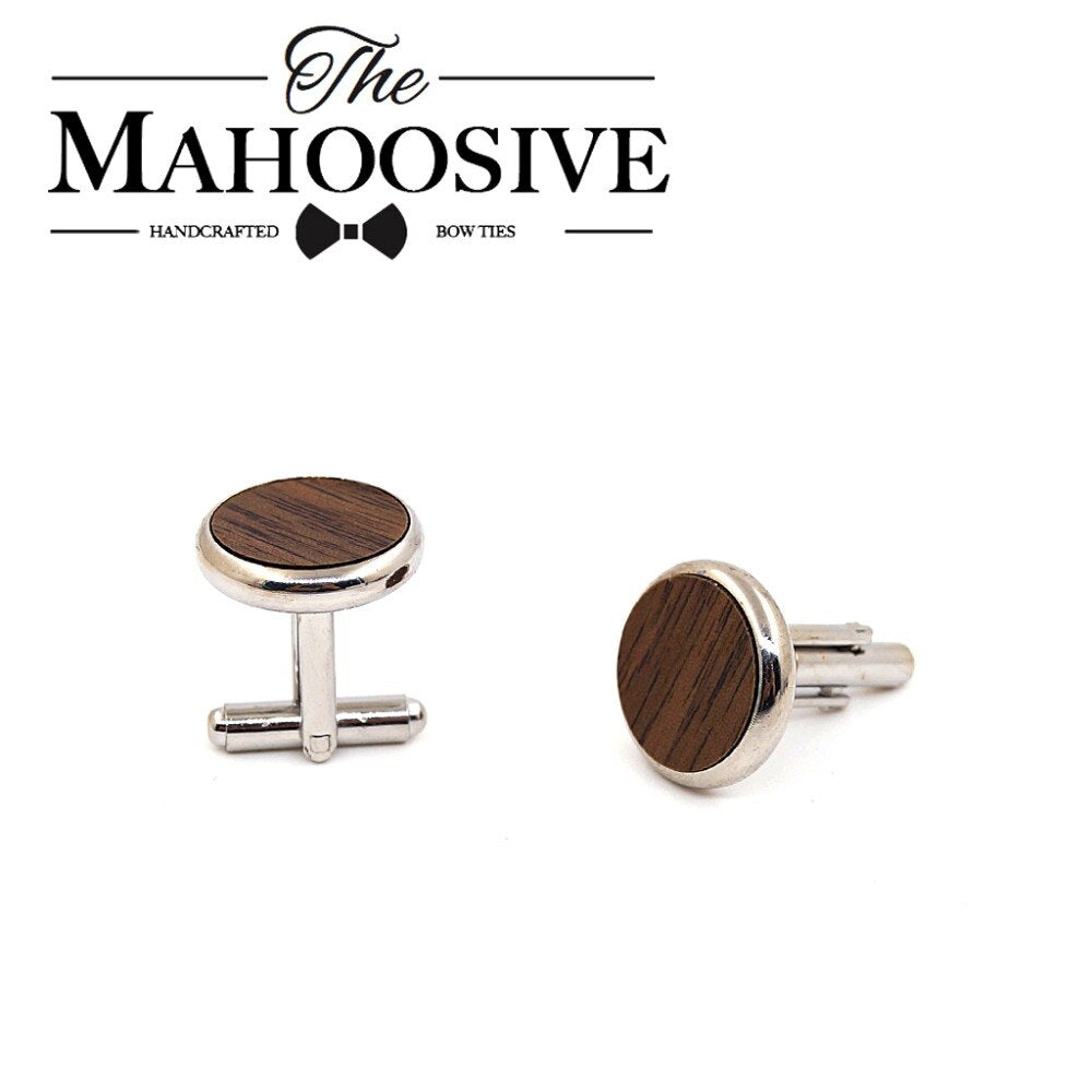 MAHOOSIVE Wooden Cufflinks Wedding Groom Round Black Walnut Cufflinks For Mens shirt accessories Casual Cuff Link with Gift box