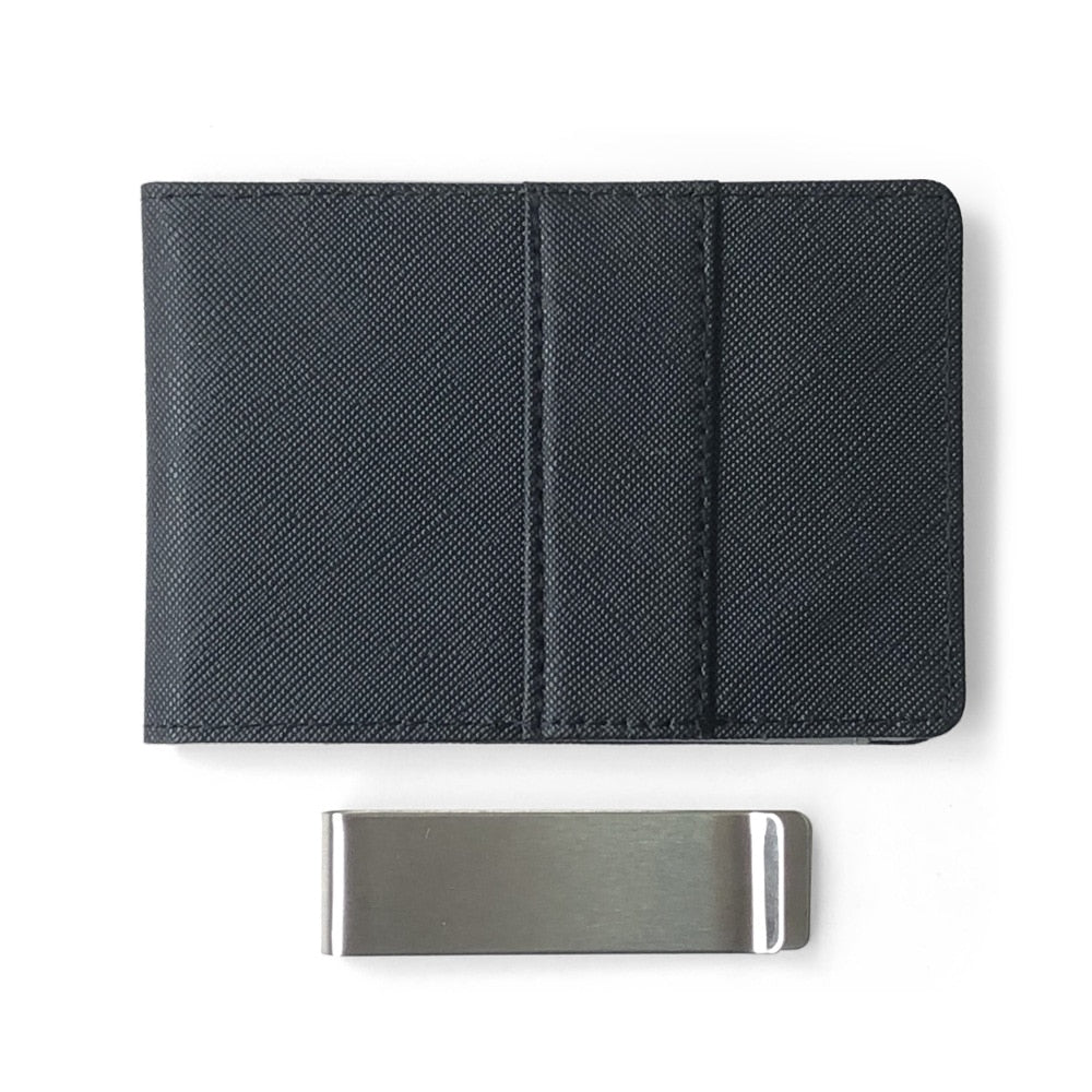 Hot Sale Fashion Solid Men's Thin Bifold Money Clip Leather Wallet With A Metal Clamp Female ID Credit Card Purse Cash Holder