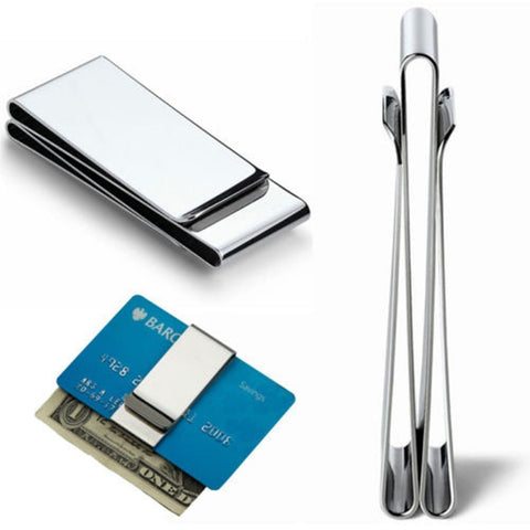 ISKYBOB 2020 Stainless Man Pocket Money Clip Dollar Metal Clamp Card Clips Credit Cards Money Holder