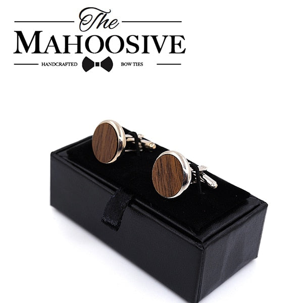 MAHOOSIVE Wooden Cufflinks Wedding Groom Round Black Walnut Cufflinks For Mens shirt accessories Casual Cuff Link with Gift box (BWT1)