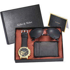 4pcs/set Top Luxury Men Watches High Graded Gifts Sets for Men Exquisite Card Credit Holder Wallets Sunglasses Gifts Set for Men