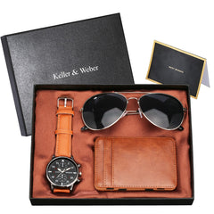 Keller & Weber Men Watch Sets with Magic Card Pack Fashion Sunglasses Birthday Thanksgiving Gift Men's Wristwatch Set