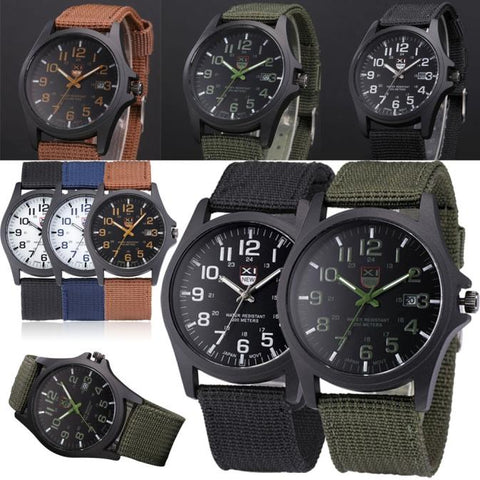 Men's Quartz Watch Wristwatches Outdoor Date Stainless Steel Military Sports Analog Army Wrist Watches Hombres Hour Reloj Clock