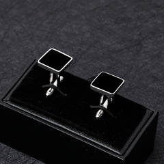 Classic Geometry of the Square Copper  Black  Men Cufflink Luxury gift Party Wedding Suit Shirt  French Cuff Links Free Shipping