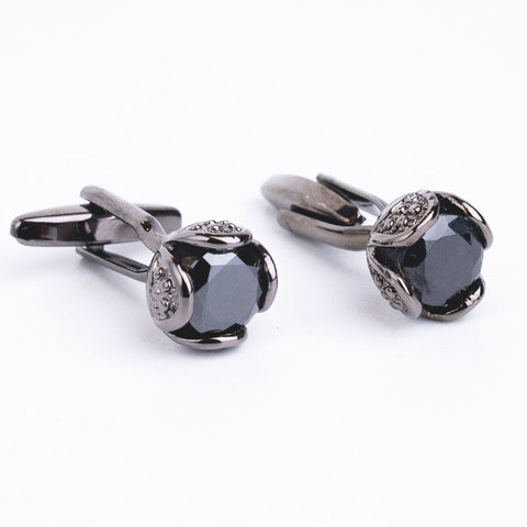 Novelty Luxury Rhinestone Cufflinks for Mens Brand High Quality Crystal Cufflinks Black Stone Shirt Cuff Links