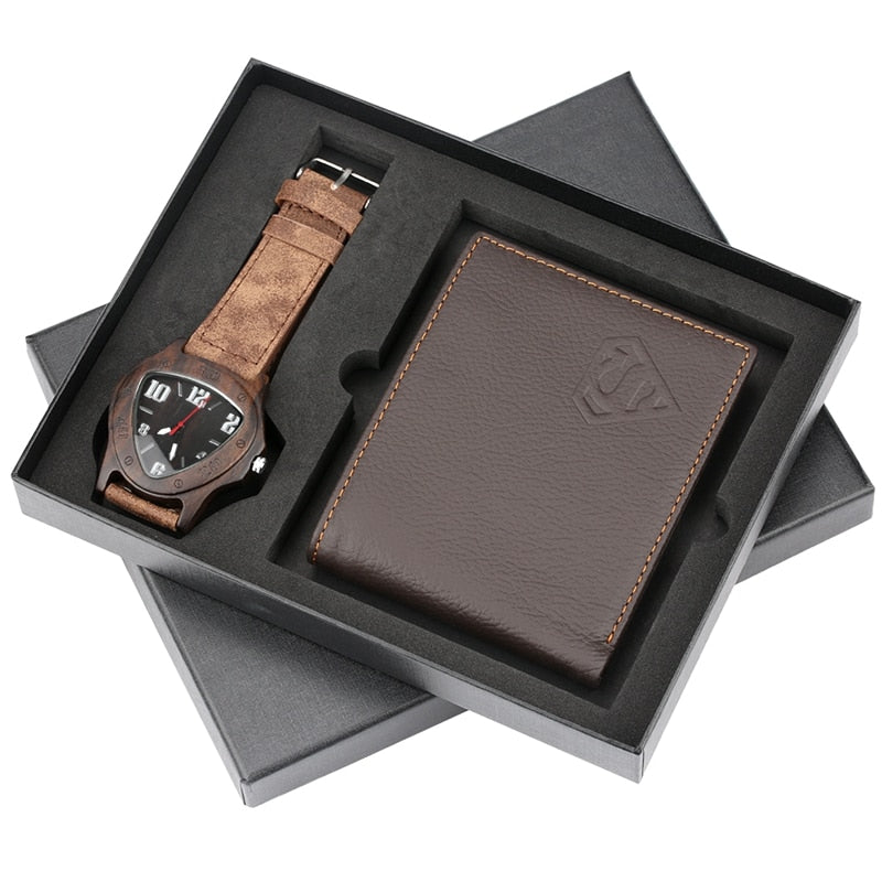 Top Luxury Inverted Triangle Dial Walnut Wood Men's Watch Anime Super  Genuine Leather Wallet Coin Money Card Holder Purse Set