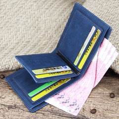 Men's Wallet Money Bag Solid Color Leather Business Short Wallet Famous Vintage Male Walltes Purse