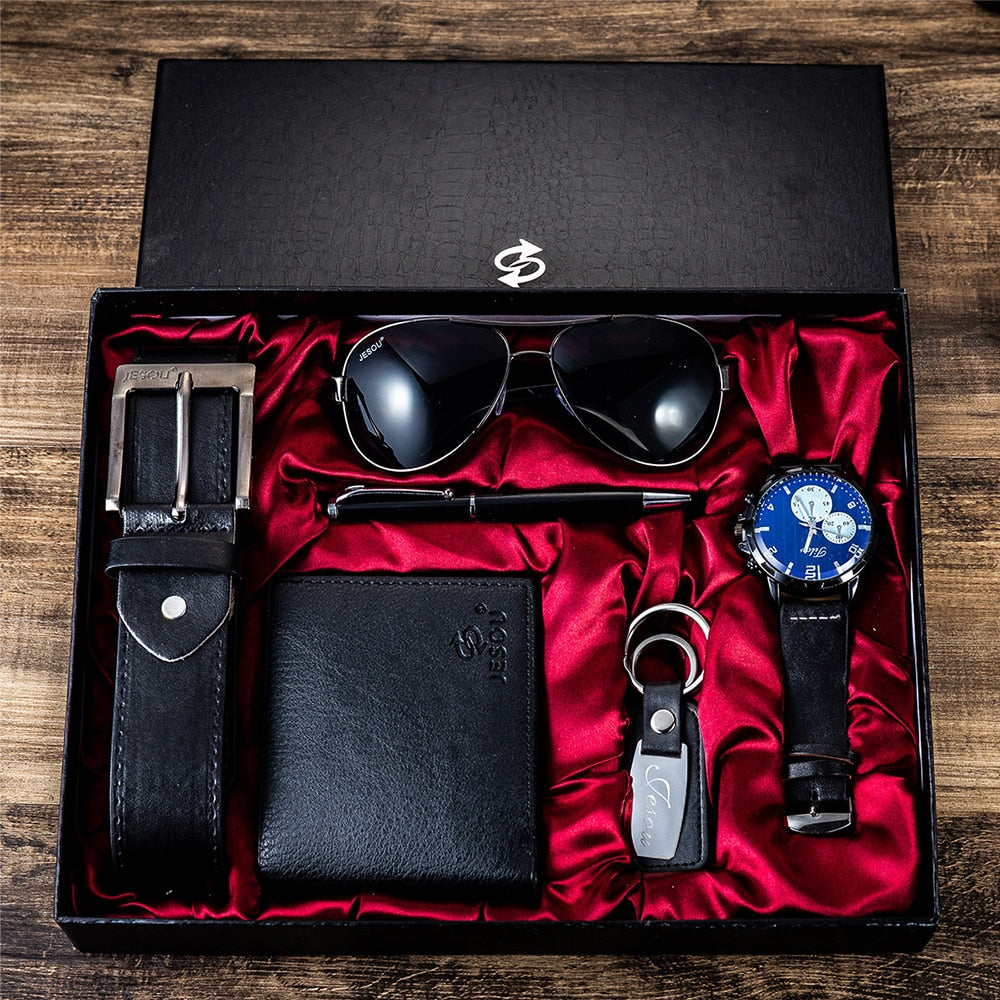 New Creative 6pcs Men's Gift Set Beautifully Packaged Watch Glasses Leather Belt Wallet Keychain Pen Gifts for Men Drop Shipping