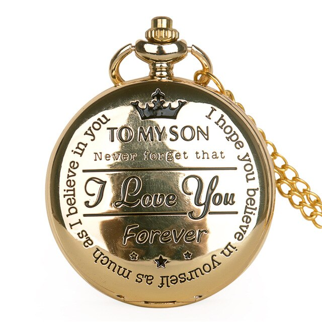 Pocket Watch TO MY SON Movie The Lion King Cover Pendant Quartz Men Necklace Chain Clock Gifts for Boys Son Reloj De Bolsillo