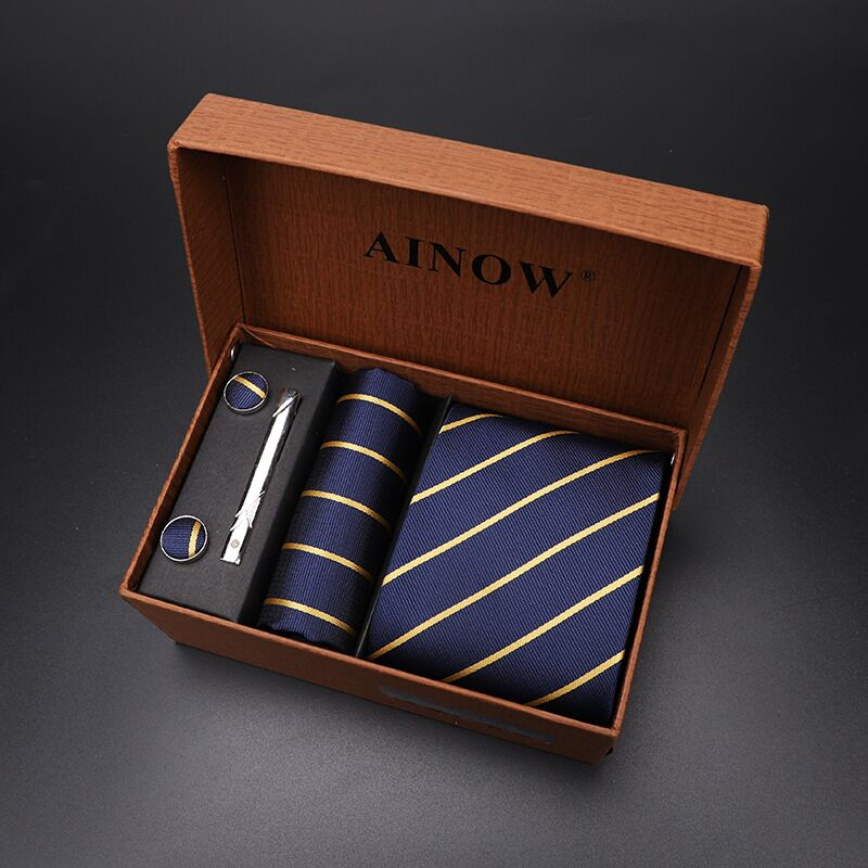 Necktie set 4 pcs Men Floral Neck tie Plaid Gift Wedding Red Striped 8cm Navy Blue Jacquard Woven Black Solid Camouflage