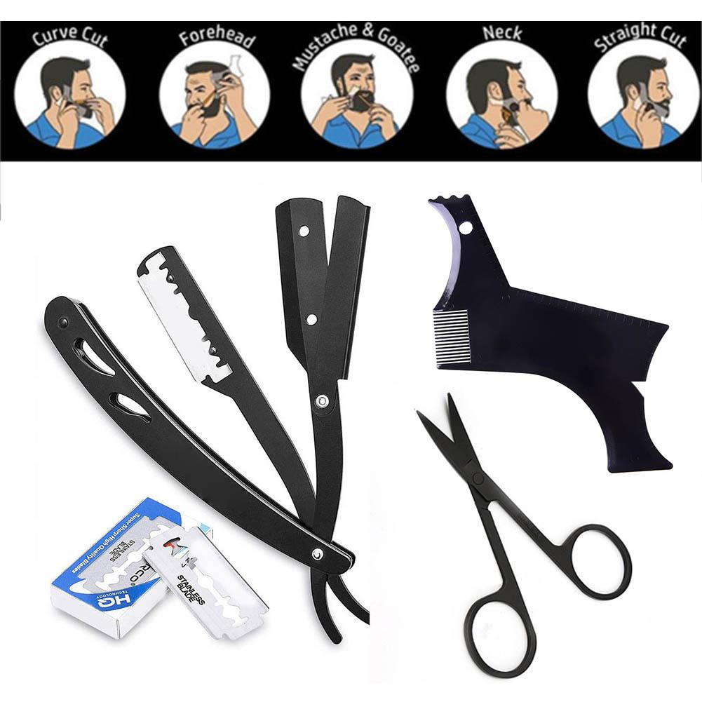 Men Beard Grooming Kit Trimming Shaving Comb Set Mustache Scissors Shaping Shaver Safety Razor Beard Care Styling Tool