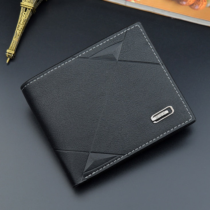Men Short Bifold Faux Leather Masculina Billetera Credit ID Card Holder Wallet Billfold Purse Clutch Solid Hombre Business Slim