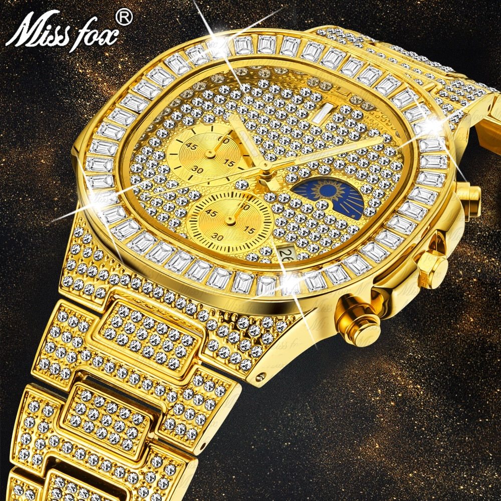 MISSFOX Man luxury Watch Gold Ice Out Full Diamond Square Wristwatches Double Dial Chronograph Waterproof Watches Mens 2020 New