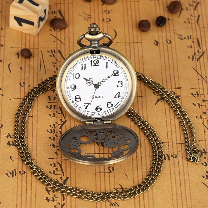 Vintage Antique Copper Steampunk Bronze Hollow Gear Quartz Pocket Watch Necklace Pendant Clock Chain Men Women with Accessory
