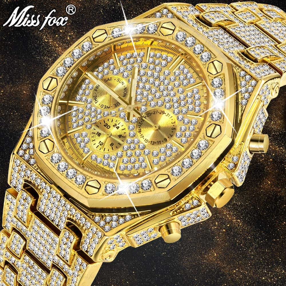 MISSFOX Men Watches 2020 Luxury Design Classic Waterproof Watch Calendar Stainless Steel Plant Gold Bracelet Wristwatch New Gift