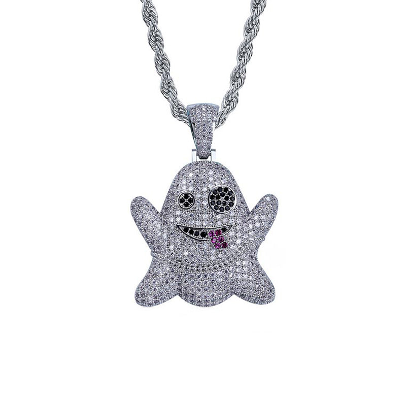 "Iced ""Snapchat Ghost"" Pendant"