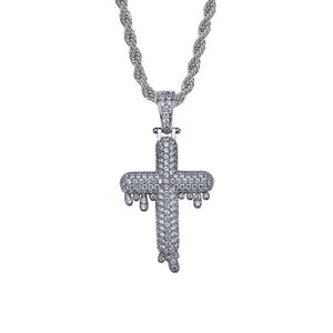 "Iced ""Cross w/ Drip"" Pendant"