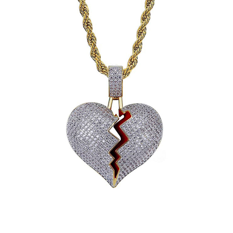 "Iced ""Heart Break"" Pendant"