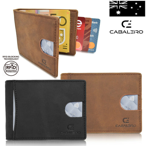 Cabaleiro Mens Brown Leather Bifold Wallet RFID Blocking & Money Clip