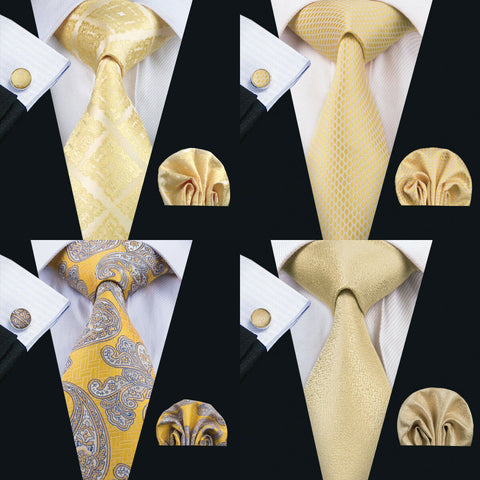 AU Classic Men Ties Silk Solid Gold Necktie Tie Pocket Square Set Wedding Woven