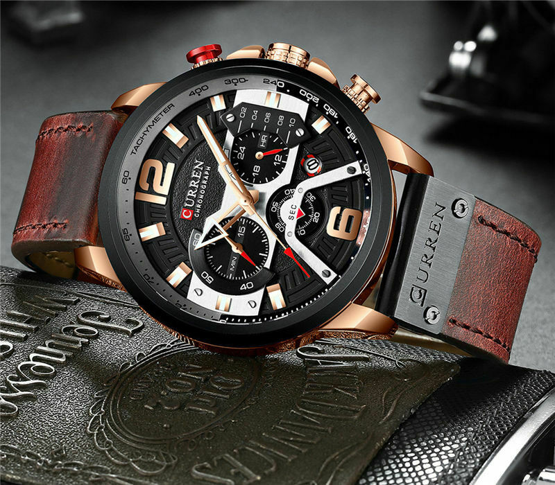 329 CURREN MENS WATERPROOF FASHION DRESS WATCH Water Resistant Gold Military 823