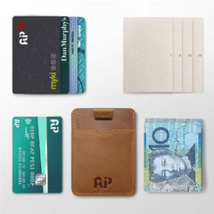 RFID 100% Genuine Leather Wallet Slim Credit Card Holder Mens Money Clip Purse