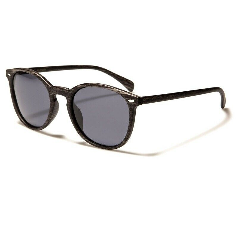 Polarised Sunglasses - Mens / Womens - Round Frame - Wood Grain Print- Polarized