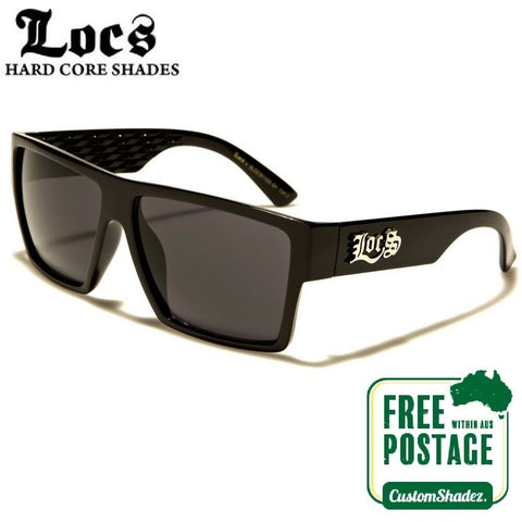 Locs Sunglasses - Men's Stylish Flat Top Frame - Gloss Black - Free Post In Aus