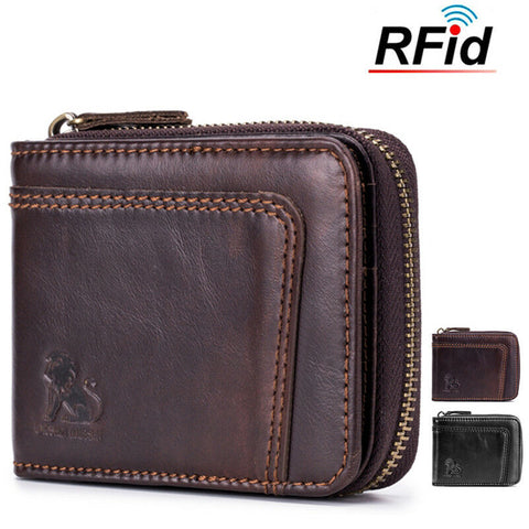 Mens RFID Genuine Leather Wallet Blocking Secure Vintage 13 Card Slots Purses