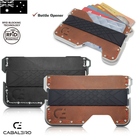 Mens RFID Slim Aluminium Brown Leather Credit Card Holder Wallet
