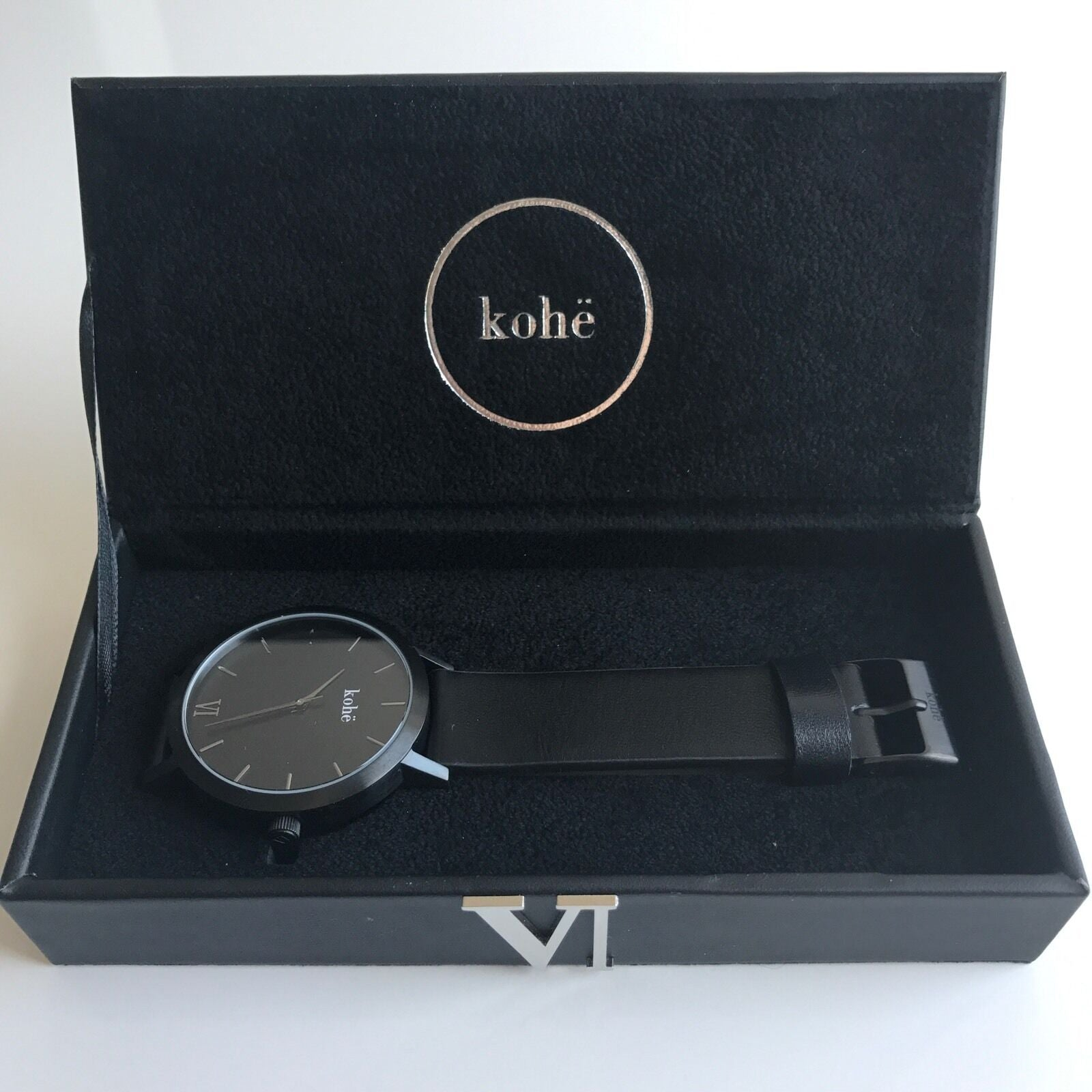 Kohë Watch - Matte Black With Leather Band