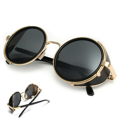 Hot* Metal Steampunk Sunglasses Men Women Fashion Round Glasses Vintage