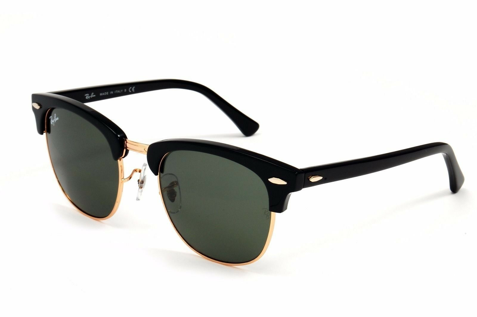 Authentic Ray Ban Sunglasses RB3016 W0365 51mm Clubmaster Black Frame Green Lens