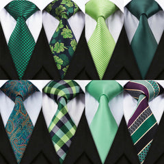 AU Men Tie Silk Classic Green Necktie 26 Style Woven Checks Solid Floral Ties