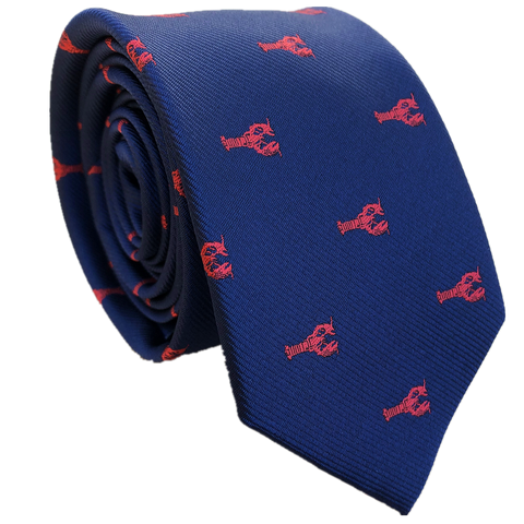 Navy Blue Red Lobster 6.5cm Skinny Ties Animal Neckties Yabby Necktie