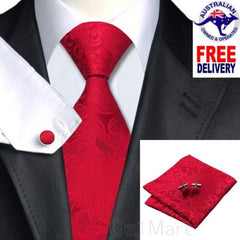 Premium Red Classic Men Tie Floral Silk Jacquard Formal Wedding Cufflink Hanky