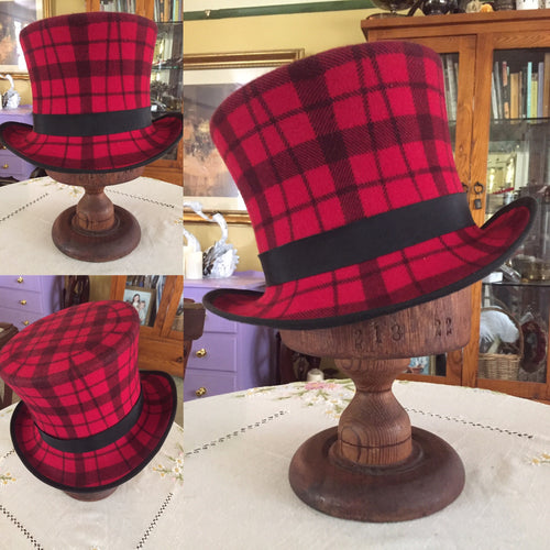 Red Plaid Top Hat