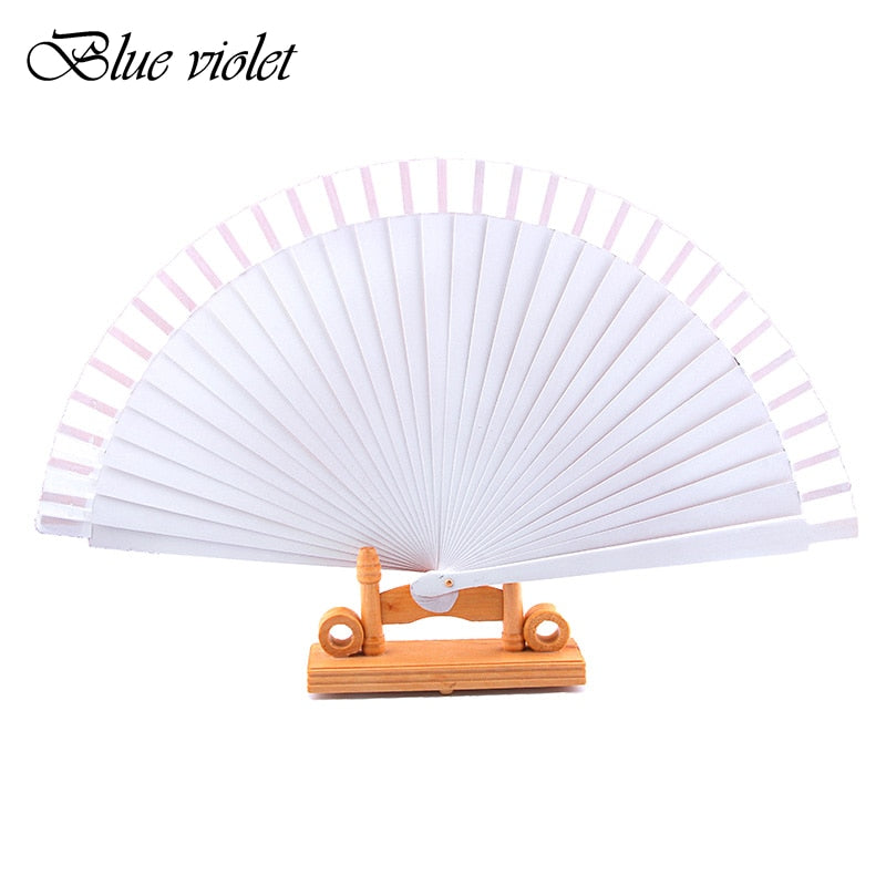 Hand-Painted White Silk Folding Fan