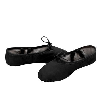 Adult Black Leather Split Sole Dance Slippers Size 39-45