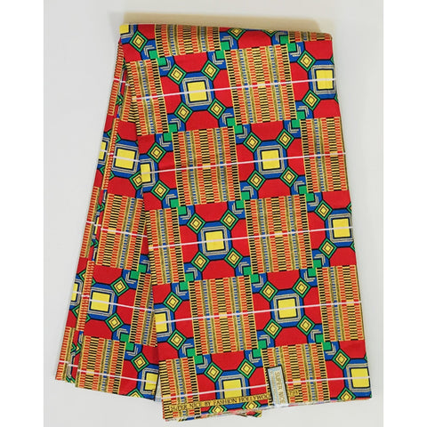 African Print Fabric/ Ankara - Red, Blue, Green, Yellow, Shimmery Gold Glitter 'Bankoe' Kente, YARD or WHOLESALE