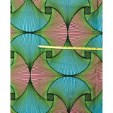 African Print Fabric/ Ankara - Green, Turquoise, Pink 'Evangeline', YARD or WHOLESALE