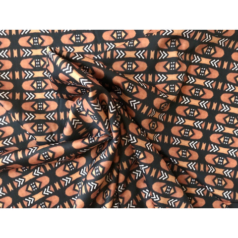 "African Print, Stretch Cotton Satin Fabric- Brown, Black ""Bogolan Mid"" Per Yard"