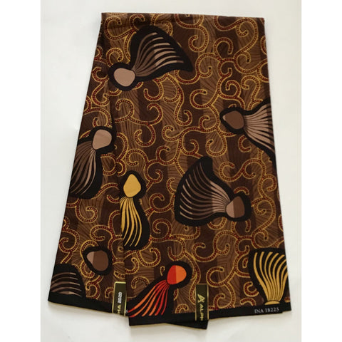 "African Print Fabric/ Ankara - Shades of Brown, Yellow, Orange ""Quote Me"", YARD or WHOLESALE"
