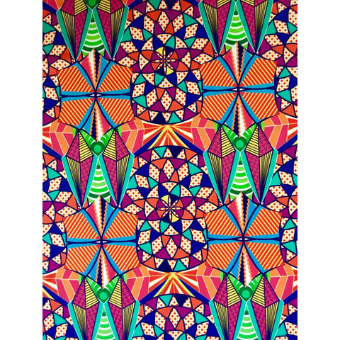 "African Print, Elastic Knit Fabric- Pink, Purple, Orange, Blue, Green ""Vibrant Thang 2.0"", Per Yard"