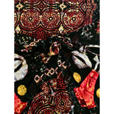 "African Print, Elastic Knit Fabric- Black, Red, Yellow ""Masquerade"", Per Repeat"