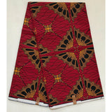 African Print Fabric/ Ankara - Red, Orange, Navy 'Prim & Proper' Design, YARD or WHOLESALE