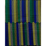 African Print Fabric/ Ankara - Black, Yellow, Blue, Green 'Bandeh,' YARD or WHOLESALE