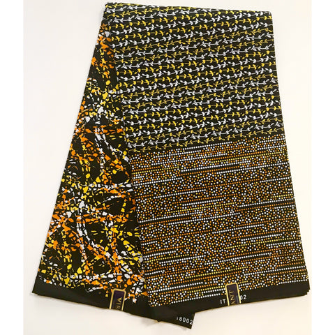 African Print Fabric/ Ankara - Orange, Yellow, Black 'Creole' Design, YARD or WHOLESALE
