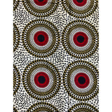 African Print Fabric/ Ankara - White, Red, Taupe 'Bullseye' Design, YARD or WHOLESALE