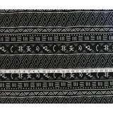 "African Print, Denim/Upholstery/ Heavyweight Cotton Fabric- Black, White ""Nsibidi,"" Per Yard"